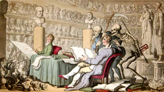"""Time and Death their thoughts impart, On works of learning and of art."" Hand-colored aquatint by Thomas Rowlandson."