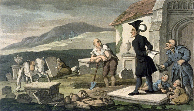 """Dr. Syntax Meditating on the Tombstones"" (Thomas Rowlandson)"