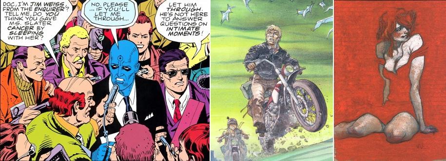 De gauche à droite : Watchmen (Moore/Gibbons), Jeremiah (Hermann) et, enfin, un pastel par Claire Wendling.