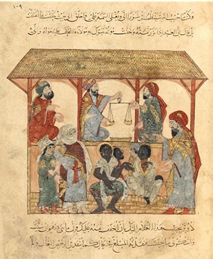Scène de marché aux esclaves, dans le manuscrit illustré Harîrî Schefer, XIIIe siècle