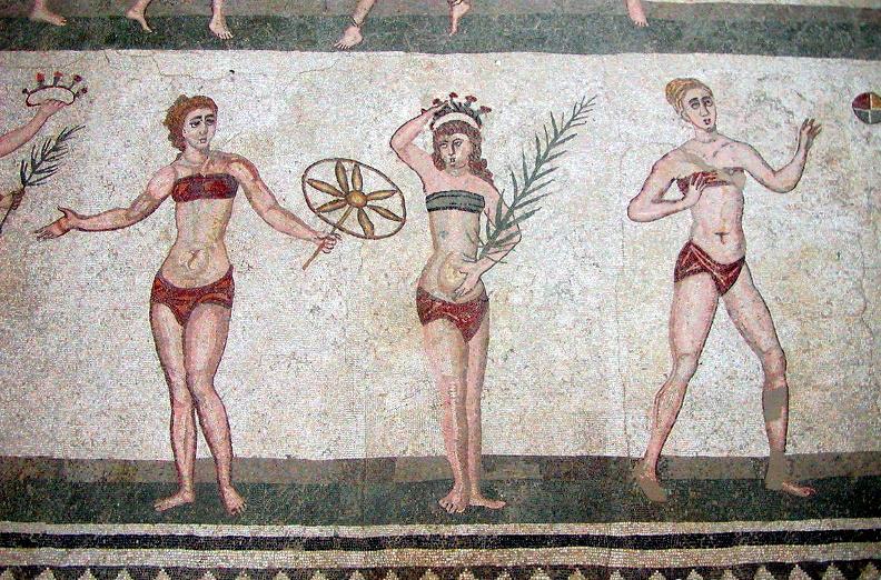 La célèbre mosaïque des bikinis de la villa Casale, en Sicile.