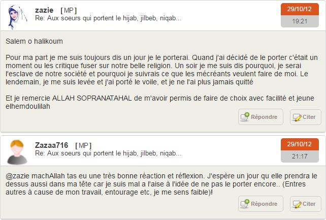 Un extrait de conversation sur un forum fréquenté par de (apparemment surtout) jeunes musulmanes.