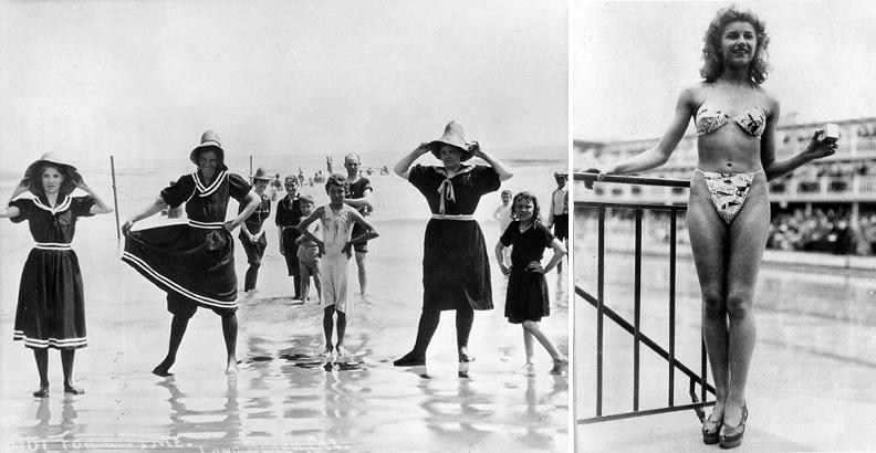 """À gauche, les maillots de bains en 1890 aux États-Unis. Quelques décennies plus tôt, en 1847, le maire d'Arcachon avait défini clairement les limites de la décence pour les baigneurs, obligeant les femmes à être vêtes """"d'une robe prenant également au cou et descendant jusqu'aux talons, ou bien d'une robe courte mais avec un pantalon"""". Que des hommes et des femmes puissent se baigner côte à côte lui faisait craindre des paroles ou des gestes indécents.À droite, lorsque Louis Réard a inventé le Bikini, en 1946, aucun modèle ne veut défiler dans cette tenue, et c'est finalement une danseuse nue des Folies-Bergère, Micheline Bernardini, qui accepte de le faire."""