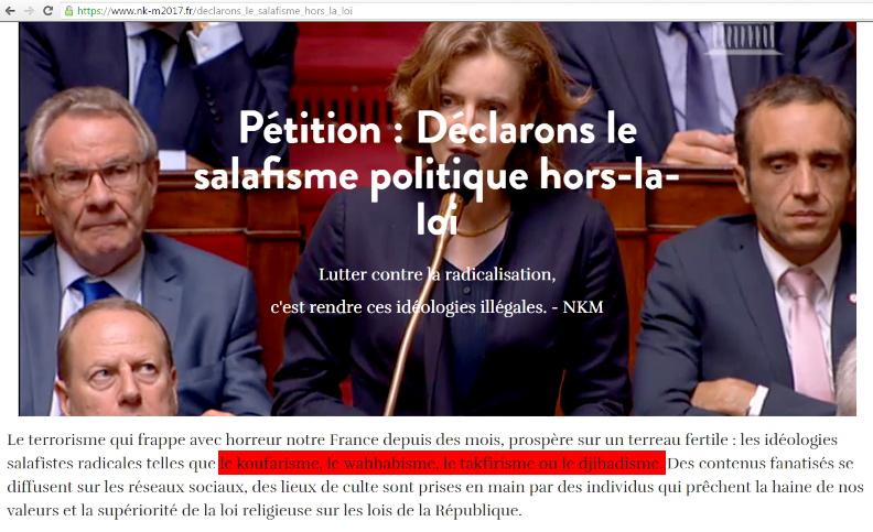 """Ouille ! Cette semaine, Nathalie Kosciusko-Morizet lance une pétition contre les courants radicaux de l'Islam politique, au premier rang desquels le """"Koufarisme"""", qui n'existe pas, d'autant que """"kouffar"""" est le pluriel de """"Kâfir"""", qui signifie """"infidèle"""", ou """"mécréant"""" (voir moi récent article au sujet de ce mot).."""