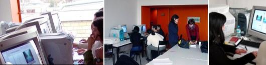 Les cours de multimédia du département arts plastiques de l'Université Paris 8 en 2001.