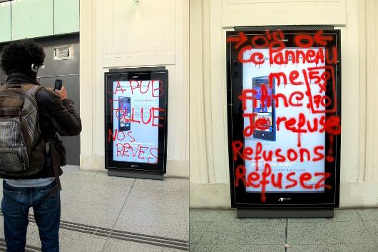 Campagne anti-pub à la gare Saint-Lazare