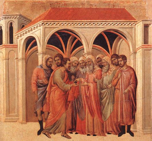 Jusas recevant les trente deniers, prix de sa forfaiture, par Buoninsegna