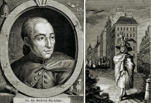 À gauche, un portrait de Restif. À droite, une illustration pour ses Nuits de Paris.