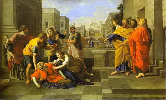 La mort de Saphire, par Nicolas Poussin ~1654