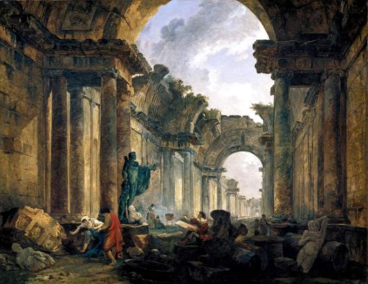Hubert Robert, vue imaginaire de la grande galerie du Louvre, en ruines.