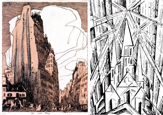"""à gauche, """"La Haute maison"""" (1908), qui ressemble à un dessin de Nicolas de Crécy. À droite, """"Kathedrale"""" (1919)"""