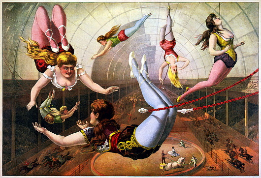Trapeze artists in circus, lithograph by Calvert Litho. Co., 1890. Edited digital image from the Library of Congress, reproduction number: LC-USZC4-2091.