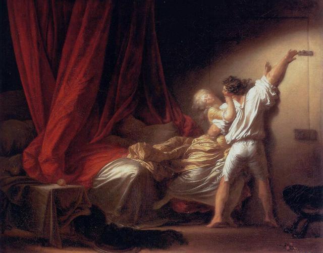 """""""Le verrou"""", par Honoré Fragonard. Diderot possédait des portraits et des lettres de Sophie Volland mais ne nous les a pas transmis !"""