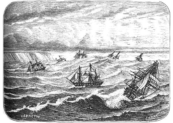 La hauteur des vagues au Cap de Bonne-Espérance (gravure de 1868)